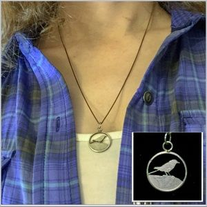 Sterling Silver Snake Chain w/ Bird Charm Necklace